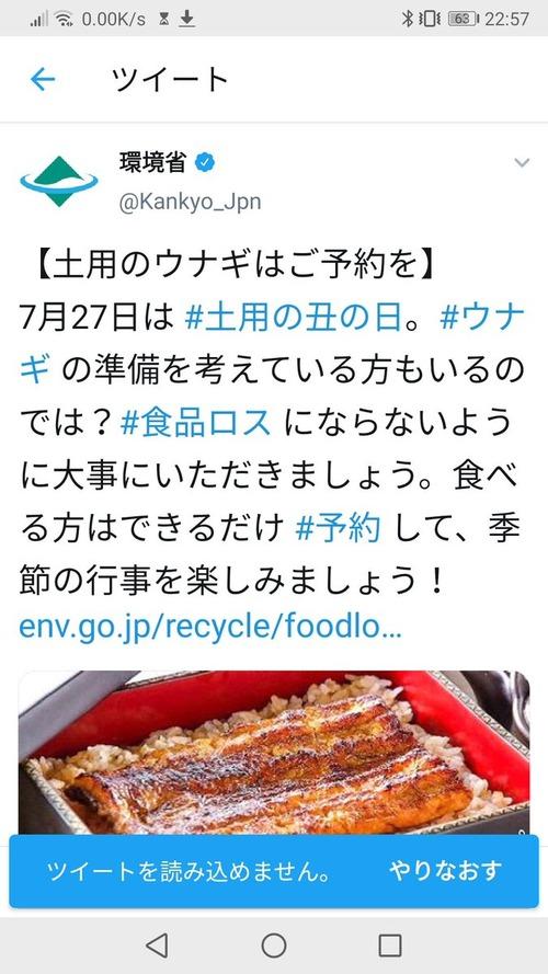 環境省「 #土用丑の日 はウナギを大事に食べましょう!」
