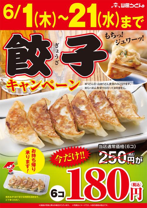 山田うどん 餃子キャンペーン開催