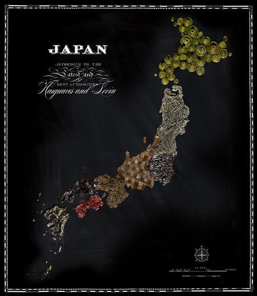 その国の代表的な食べ物や食生活が分かる 食品で制作された世界地図
