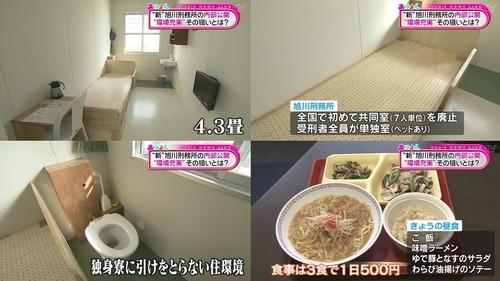 【画像】旭川刑務所が3食テレビ付きの個室で快適ワロタwwwwwwwwwww