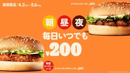【朗報】バーガーキング、朝昼夜いつでも毎日200円でハンバーガーが食べられる模様!!!