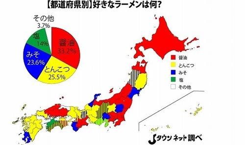 九州ではとんこつ一強! 都道府県別「好きなラーメン」投票結果は地域差くっきり 東日本は醤油強し