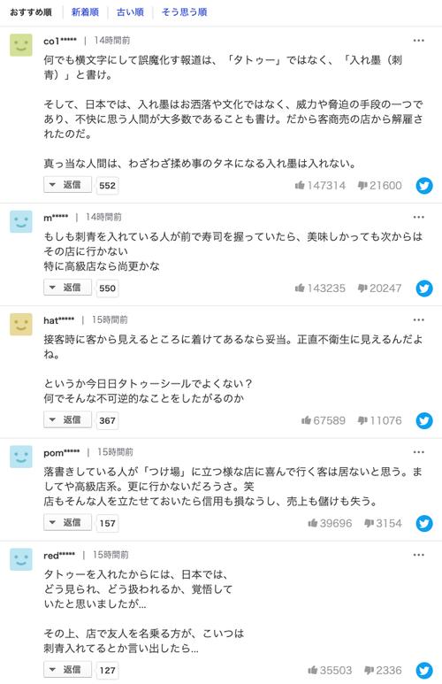「タトゥー理由に高級寿司店解雇」のヤフコメが地獄