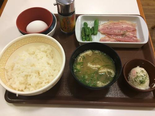 今日からのすき家のベーコンアスパラ朝食350円食べたったwwwwwwww