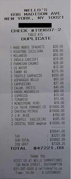 「金持ちがレストランでランチを食べた後のレシート」が桁違いだと話題に