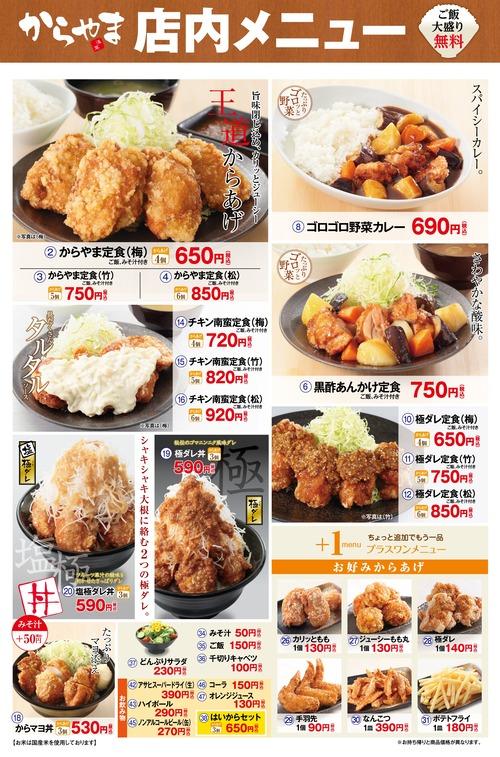 唐揚げチェーン店「からやま」の定食(670円)