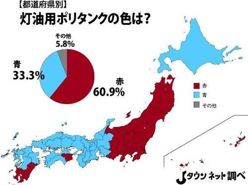 灯油用ポリタンクは「東日本→赤」「西日本→青」