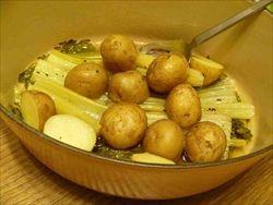 じゃがいもとセロリの茎を鍋で煮る「ジャガイモとセロリのブレイズ」セロリなのに玉葱みたいな甘さがします。
