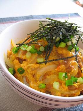 材料費200円で数食分作れる納豆風味の親子丼