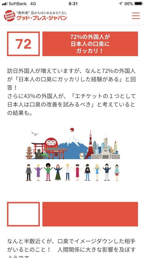 外国人「日本人は口が臭い」