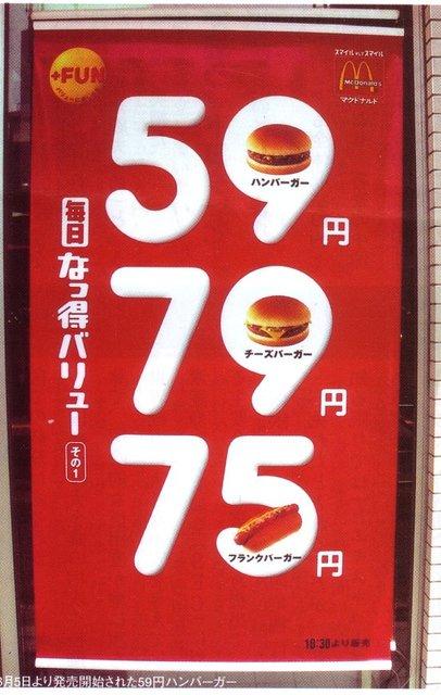 マクドナルドのハンバーガーが60円で買えた時代