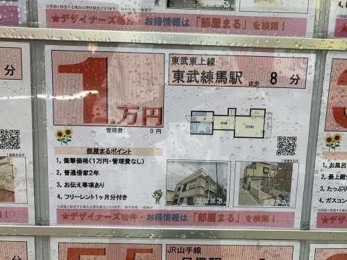 【朗報】東武練馬駅から徒歩8分の優良1LDKがなんと1万円!(管理費0円)