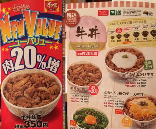 すき家「350円に値上げする代わりに牛肉を20%増量しました!」 → 嘘でした