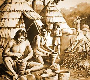 縄文人の一日 朝はマンモス刈り、昼は貝と魚を取り、夜はどんぐり採集、寝る前に土器こねこね