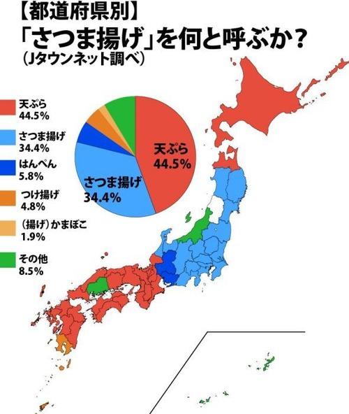 「さつま揚げ」をなんと呼ぶか?ちゃうねん「天ぷら」やろ 全国調査結果