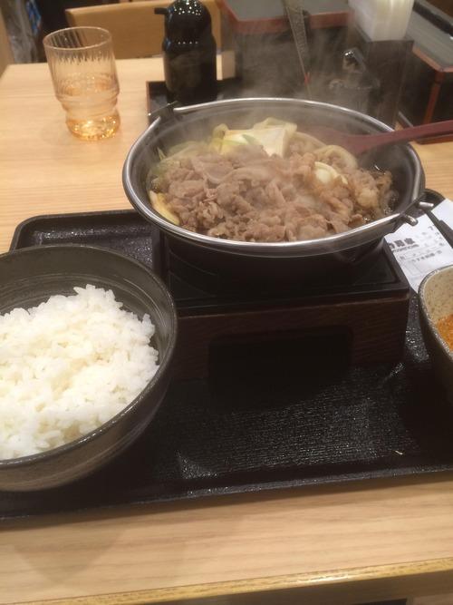 吉野家の牛すき鍋定食(630円)wwwwwwwww