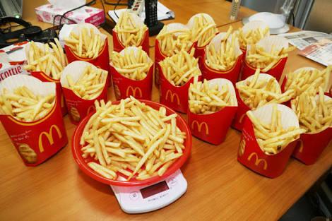 マックのポテトLサイズ200個を一週間で全部食べきれば1000万円