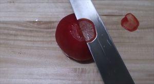 銀三本焼の柳刃でトマト切ってみた