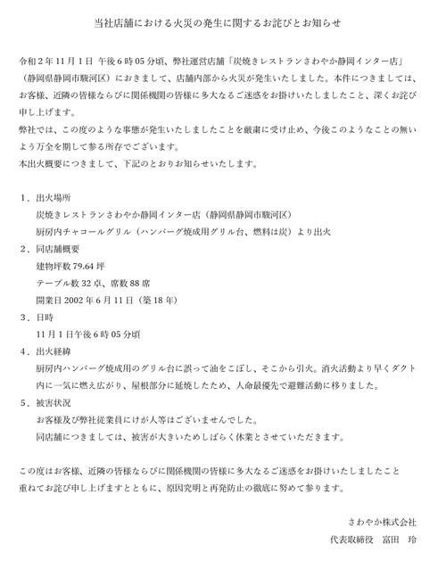さわやか静岡インター店の火災 グリル台に誤って油をこぼす→ダクトに延焼→店舗全焼