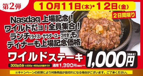 明日からいきなりステーキ1000円キャンペーンが始まるぞ
