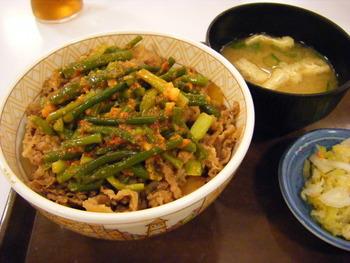 すき家sニンニクの芽牛丼+お新香セット