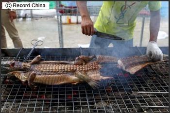 肉が焼ける香ばしい匂い…美食祭りで出てきた料理はワニの丸焼き(!)、グロテスクな外観でも「意外に美味」と評判はまずまず