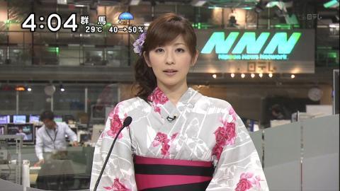浴衣姿でニュース番組に出た中田有紀