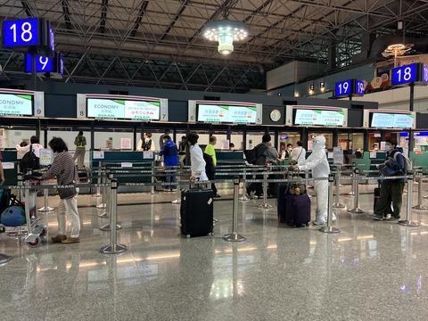 コロナ禍の桃園空港チェックイン