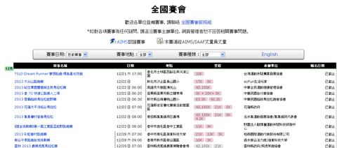 台湾の年間マラソン大会スケジュール