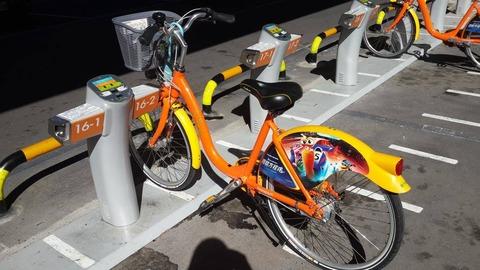 ステーションに停められたU-bike