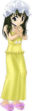 観秋の黄色のワンピースネグリジェ