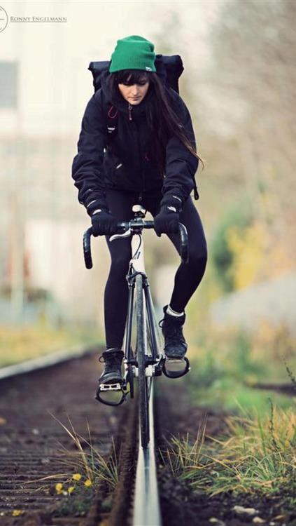 Girls On Fixed Gear Messenger Bikes