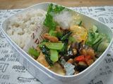 小松菜と厚揚げの生姜炒め弁当