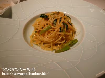 白魚と春菊のスパゲッティー