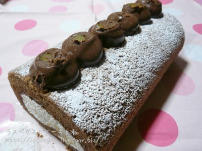 栗のチョコロールケーキ