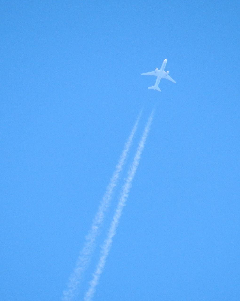 飛行機雲 出来立てほやほやの飛行機雲です♪青い空に白い線がくっきりとこんな風に飛行... コモハ