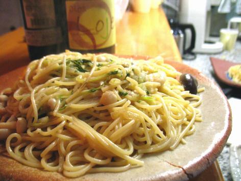 白菜と水菜ときのこの和風パスタ