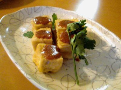 厚揚げ豆腐の明太子ソース