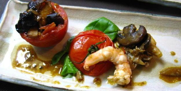 コウタケとトマトの素揚げと、海老のソテー添え・オーブン焼き 2