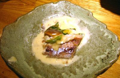 イトヨリ(魚)と天然なめこの豆乳クリーム煮込み