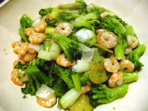 海老とブロッコリーの炒め物