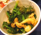 菜の花とキノコの胡麻汚し(わさび風味)