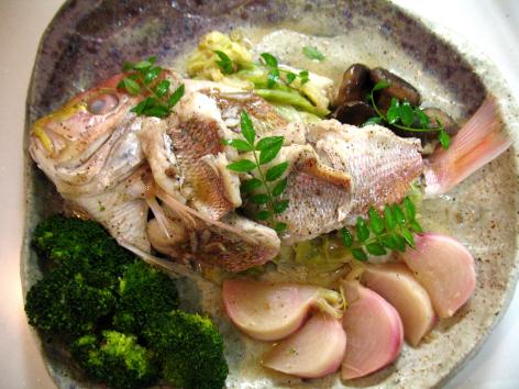 レンコン鯛の白ワイン蒸し
