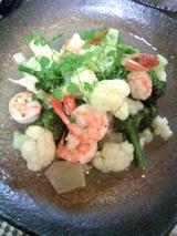 海老とカリフラワーの炒め物