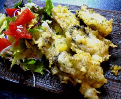 牡蠣のフリッター(洋風天ぷら)レモン塩添え