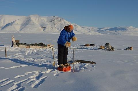 海氷の厚さを測定するため、穴を開ける作業風景