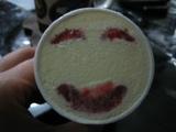 イチゴのフルーツソースで笑い顔のパナップ