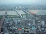 淀川に架かる橋を臨む