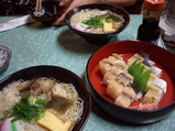 にゅう麺とさばの押し寿司(バッテラ)