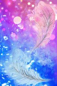 ピンクと青の光に浮かぶ羽根